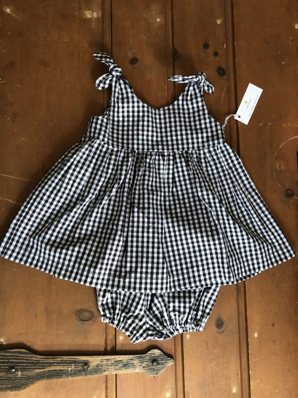 black and white check sundress with bloomer