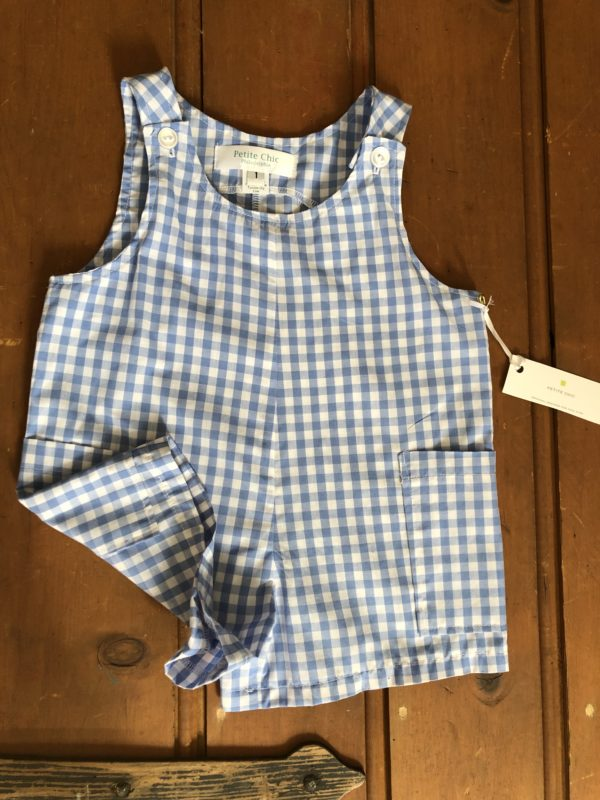 blue and white gingham shortall