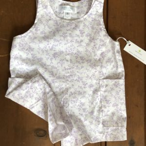 white with lavender floral shortall